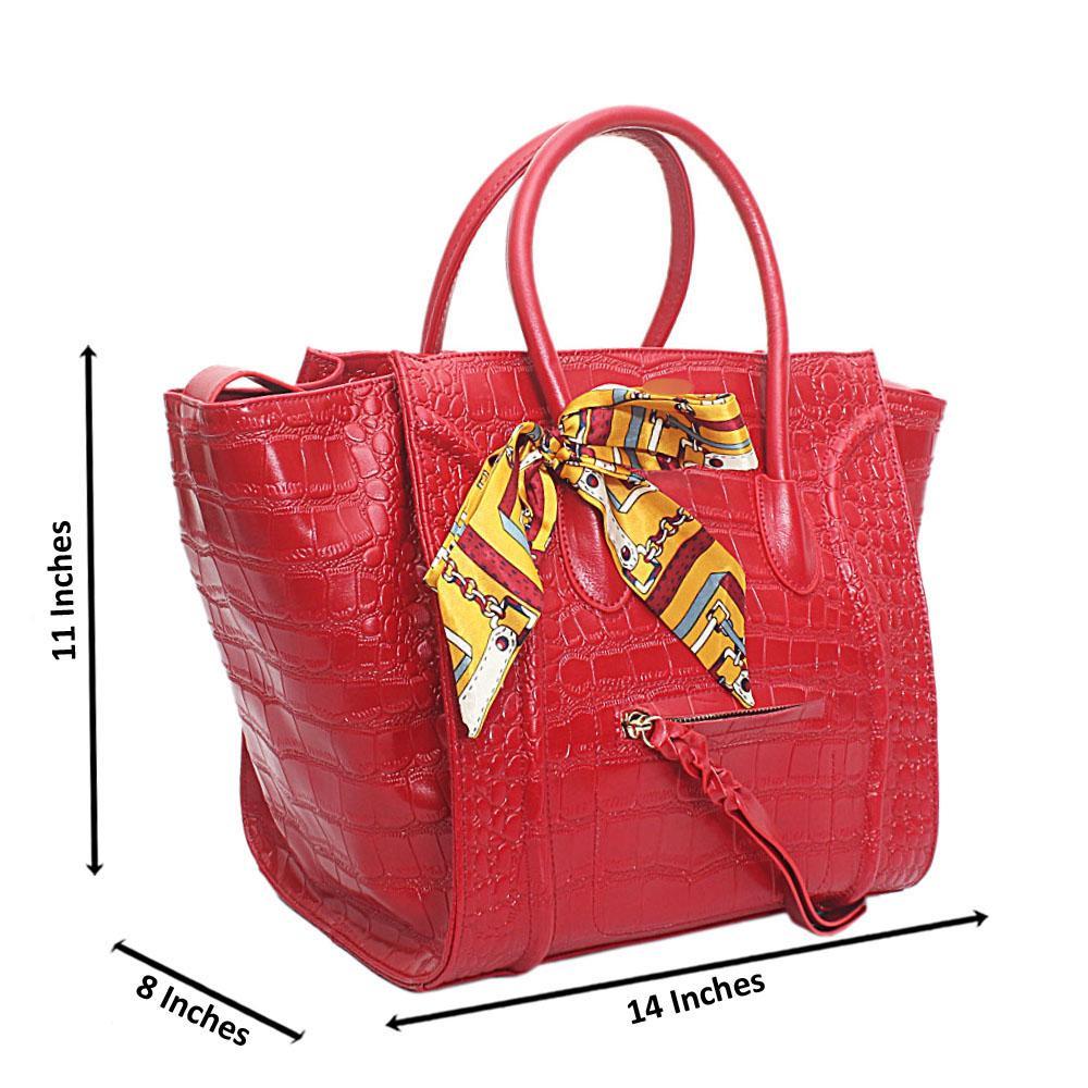 Red Patent Skin Luggage Saffiano Leather Handbag