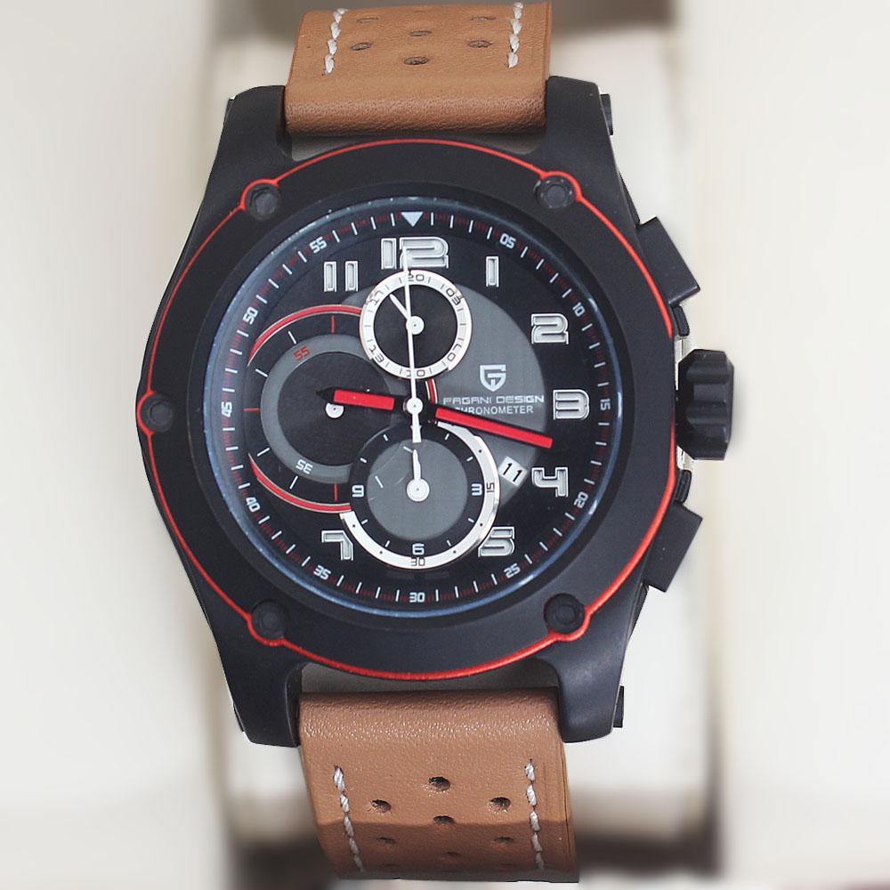 P-Design Brown Leather Chronograph Watch