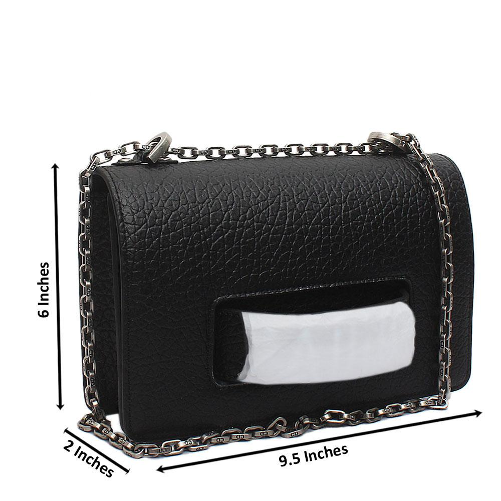 Black Lambskin Leather Flap Clutch Bag