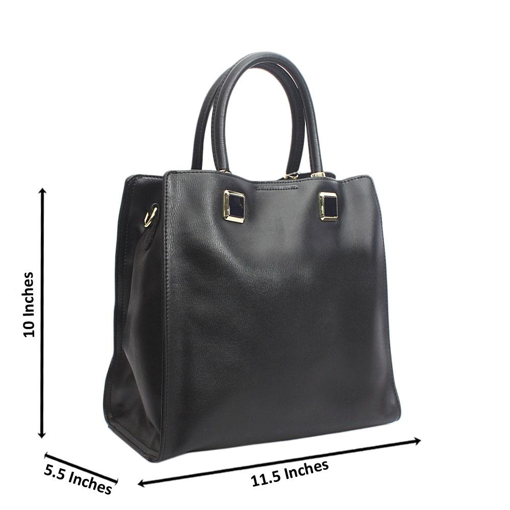 Shinning Black Tuscany Leather Morisa Tote Handbag