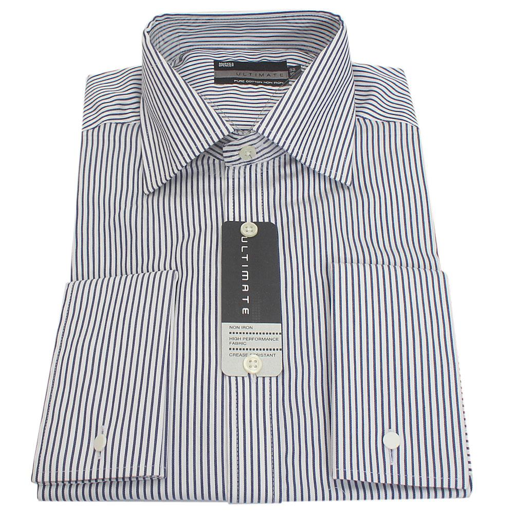 M&S Ultimate Pure Cotton Blue Stripe L/Sleeve Men Shirt