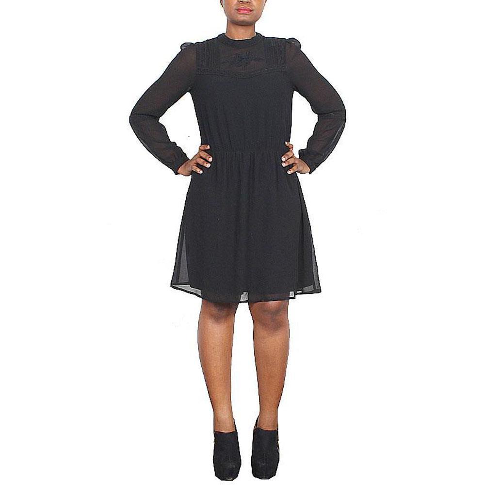 M&S Black Long Sleeve Ladies Chiffon Dress