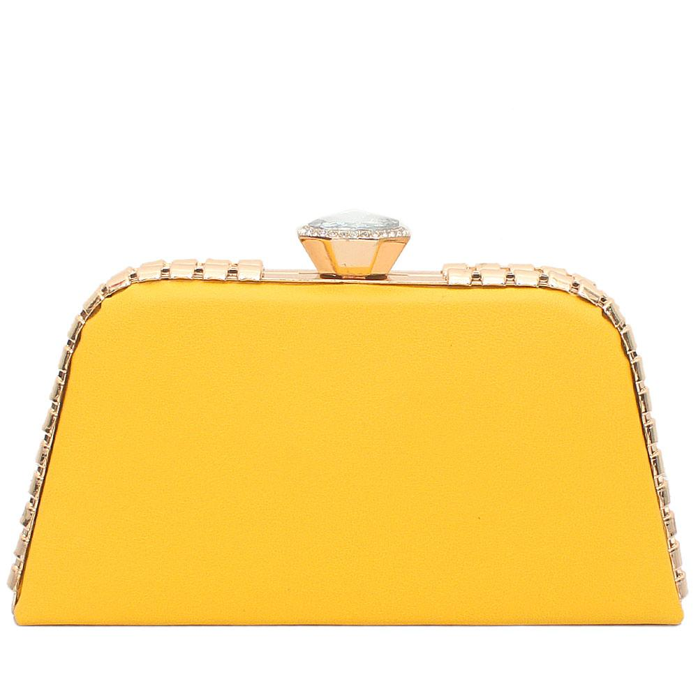Yellow Leather Premium Hard Clutch