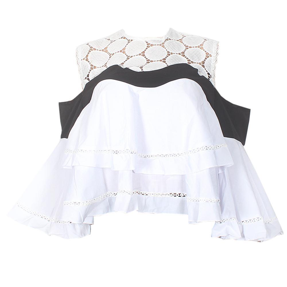 Monochrome Cotton Ladies Flare Crop Top