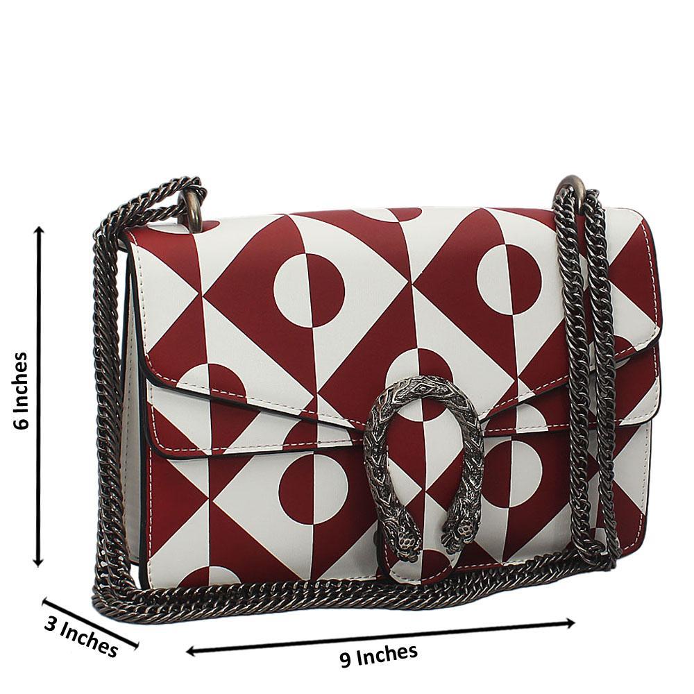 Wine white Tuscany Leather Chain Crossbody Handbag