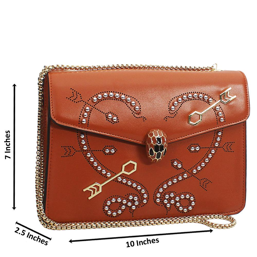 Brown Silver Studded Etched Tuscany Leather Chain Crossbody Handbag