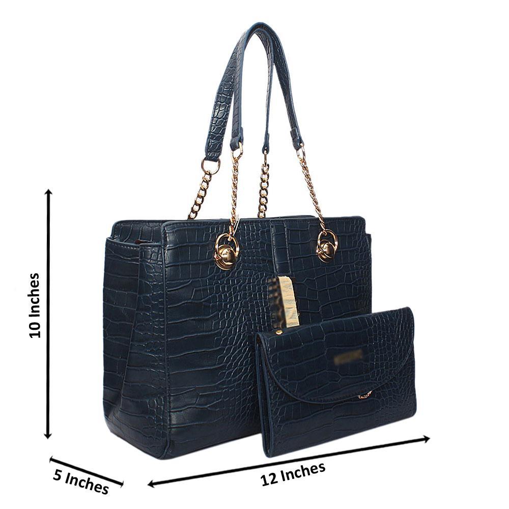 Blue Amora Croc Leather Chain Shoulder Bag