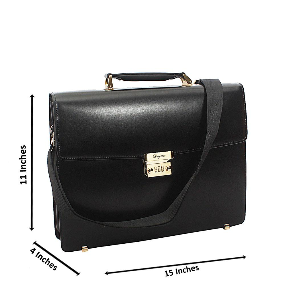 Black Smooth Cowhide Leather Briefcase wt V-Front Lock