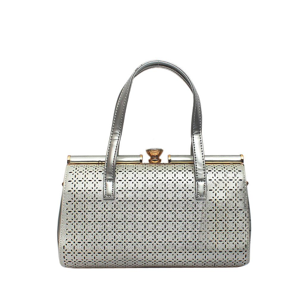 London Style White Silver Patent Leather Handbag