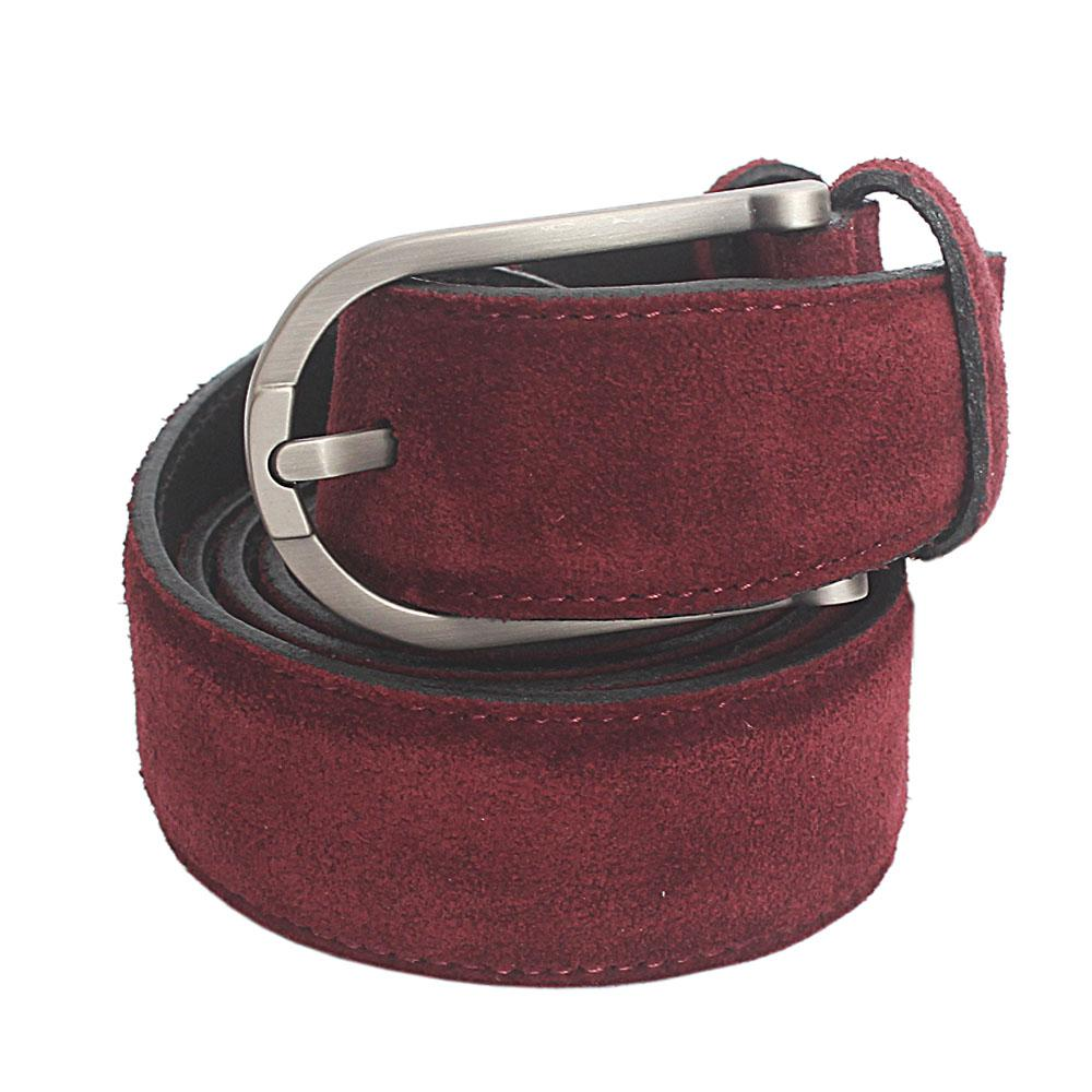 Wine Suede Italian Leather Flat Belt L 49 Inches