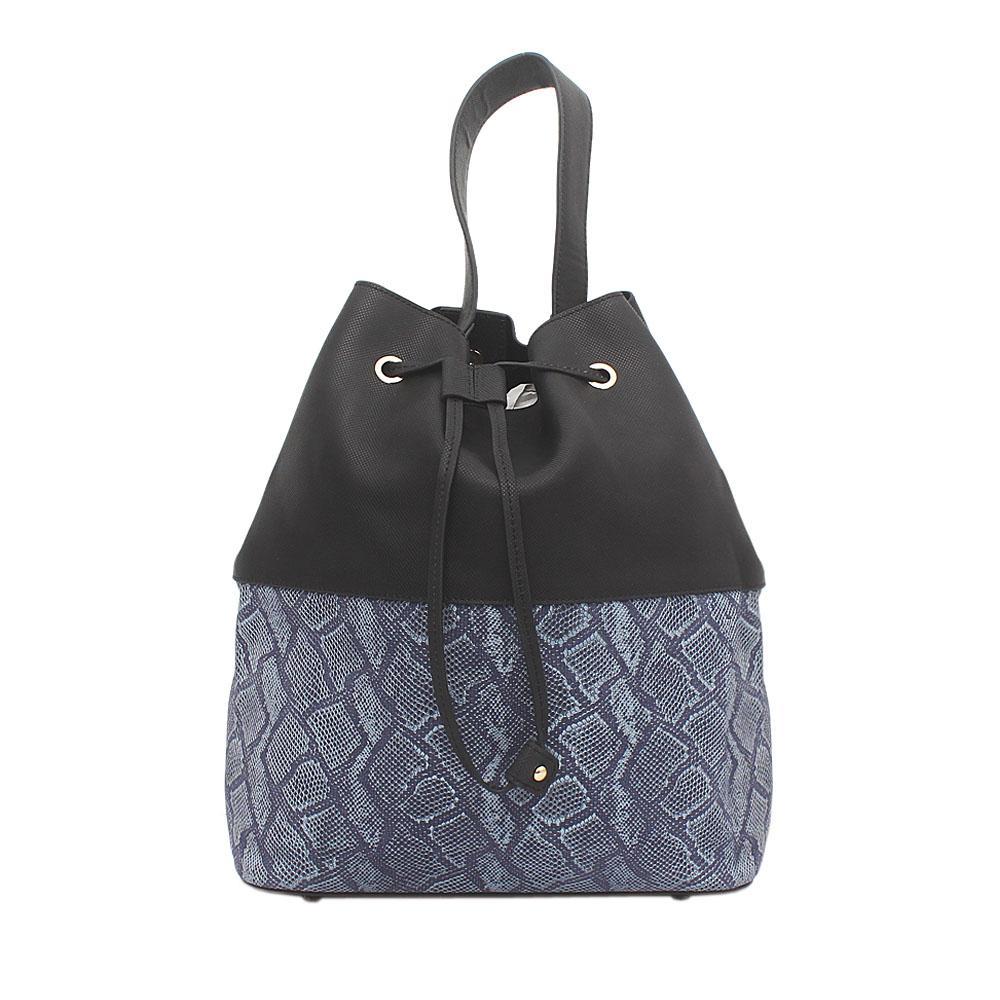 London Style Black Blue Leather Handbag