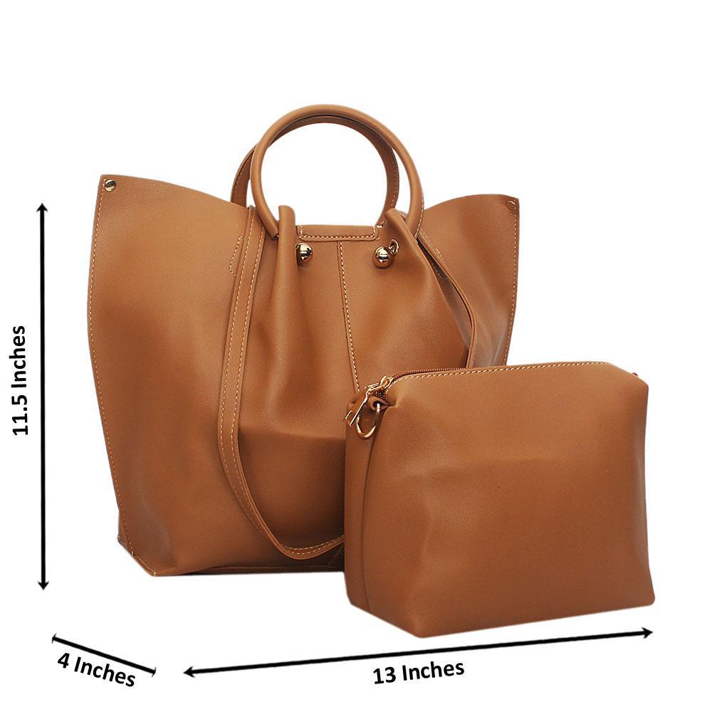 Khaki Paulina Leather Metal Handle Tote Handbag