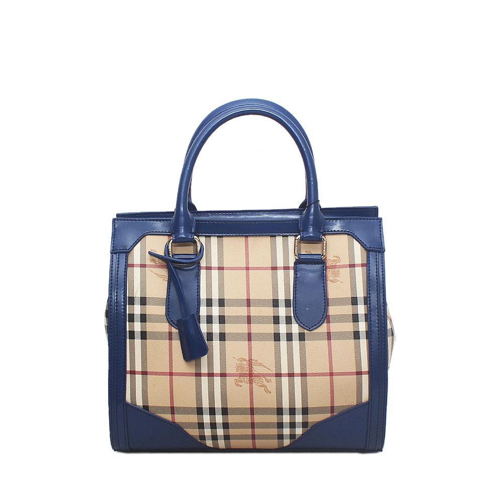 Blue Cream Saffiano Leather House Check Bag