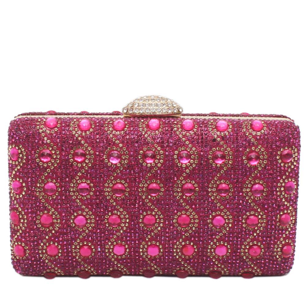 Pink Glitz Studded Premium Hard Clutch