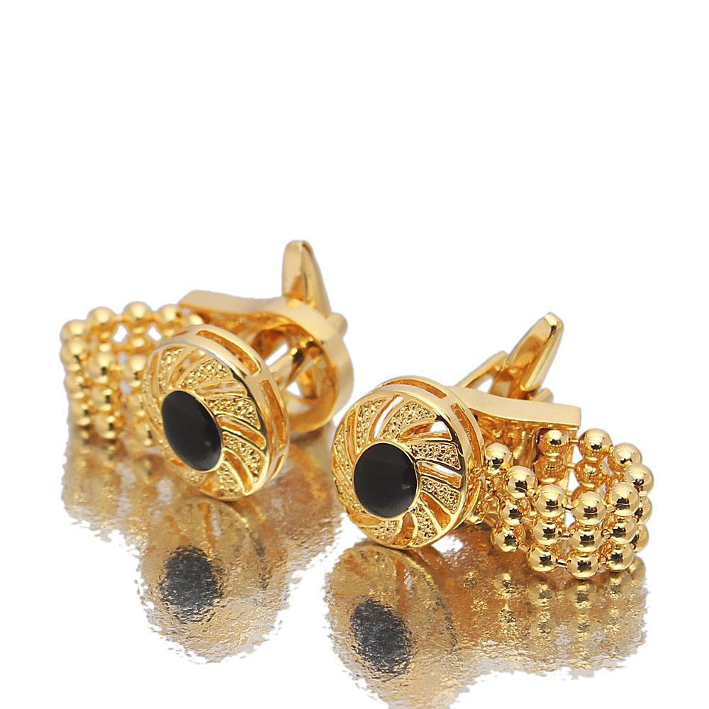 Etched Balls Gold Stainless Steel Cufflinks