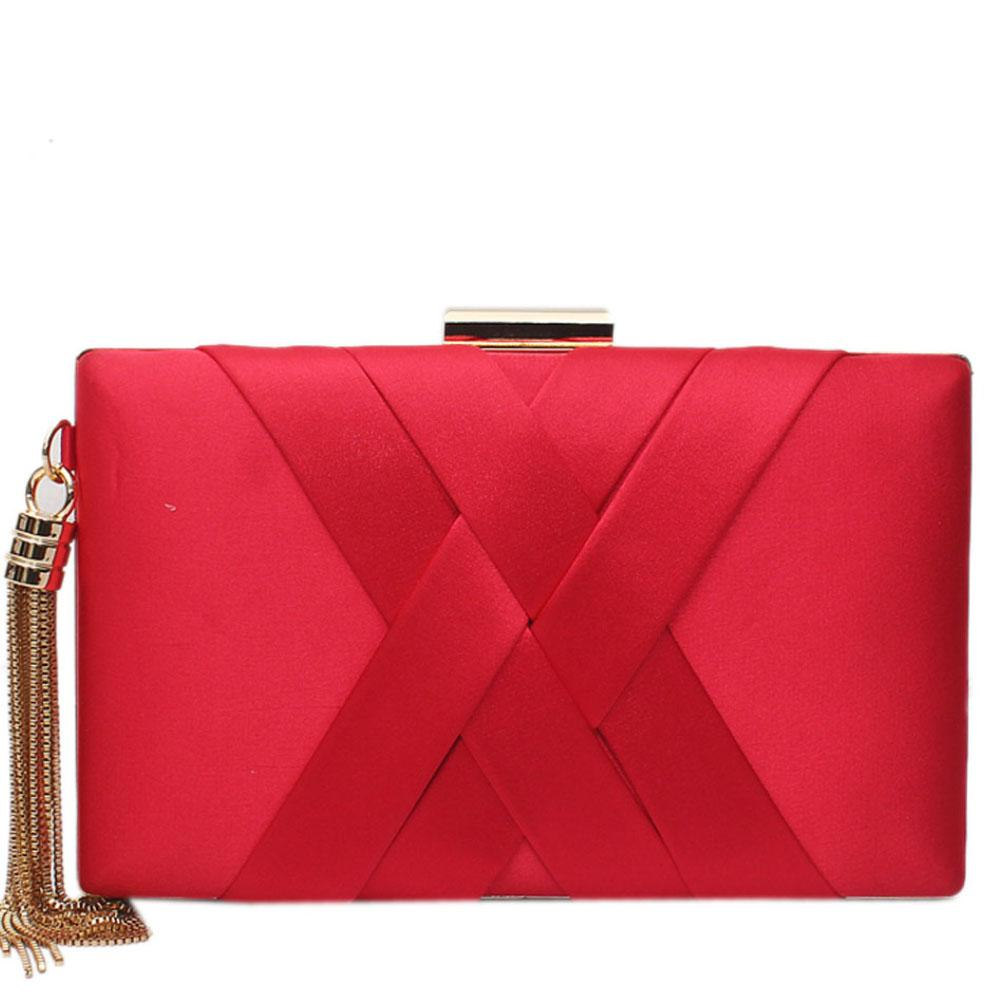 Red Fabric Premium Hard Clutch