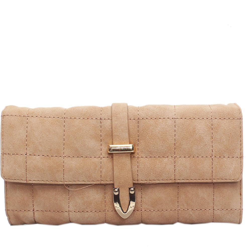 Nubuck Camel Brown Leather Ladies Wallet