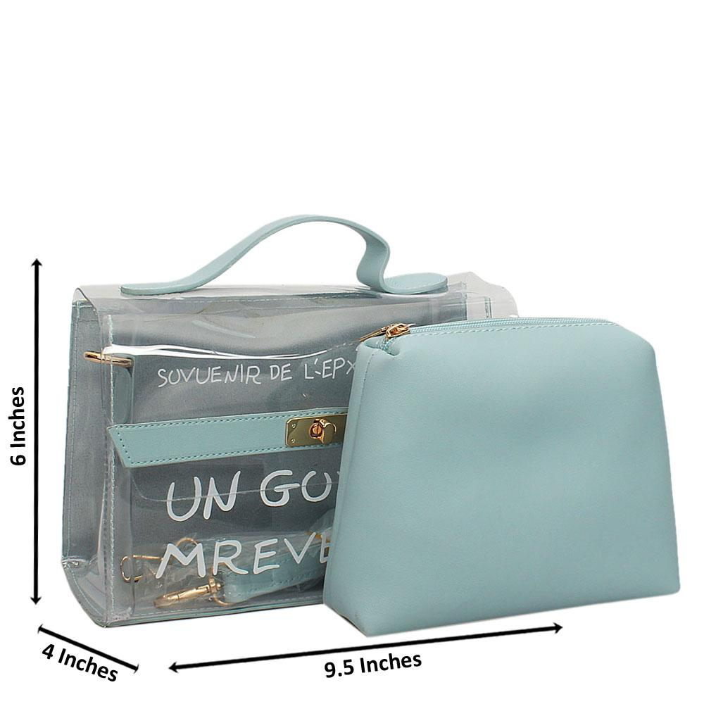 Sky Blue Transparent Rubber Leather Small Top Handle Handbag