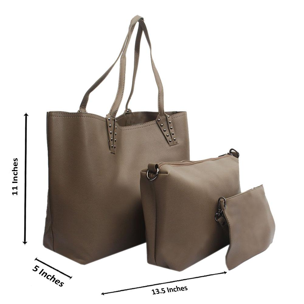 Khaki Montana Leather Medium 3 in 1 Handbag