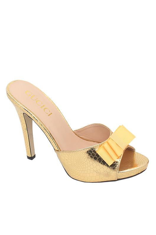 Gucici Gold Patent Leather Heel Slipper