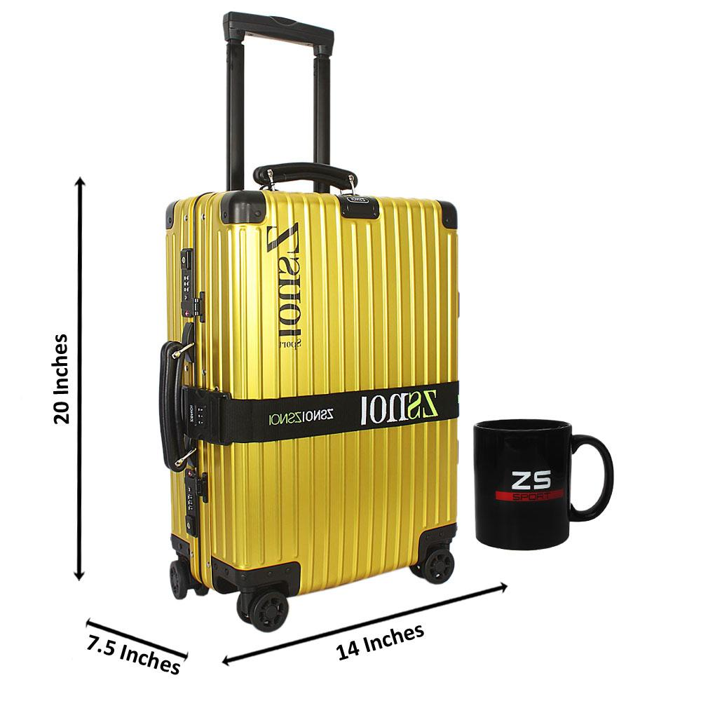 Yellow Secret Agent Aluminum 20 Inch Carry on Suitcase wt Leather Handles