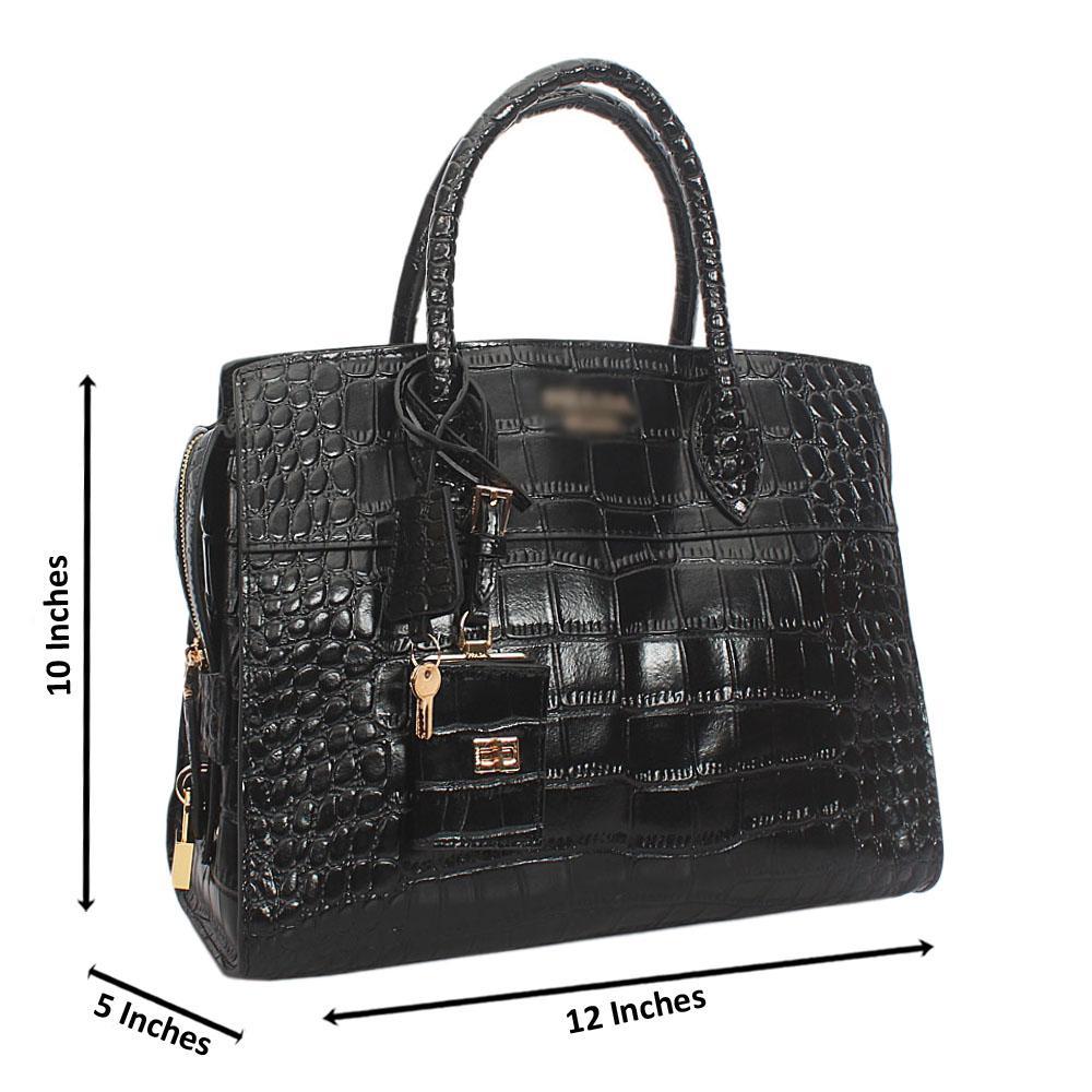 Black  Esplanade Croc Cowhide Leather Tote Handbag