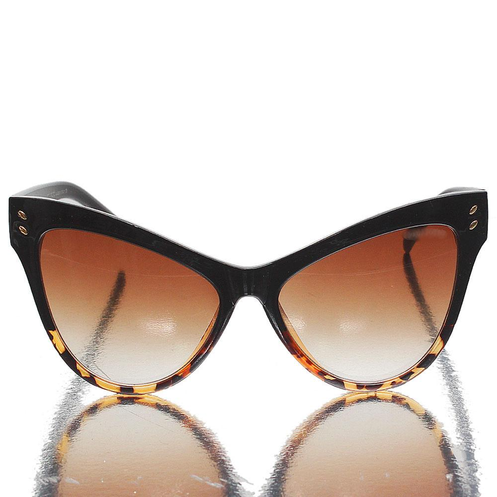 Black Brown Cat Eye Brown Lens Glasses