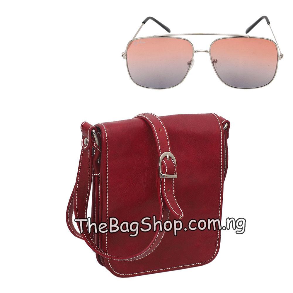Vera Pedle Wine Leather Cross Body Bag Wt Free Sunglasses