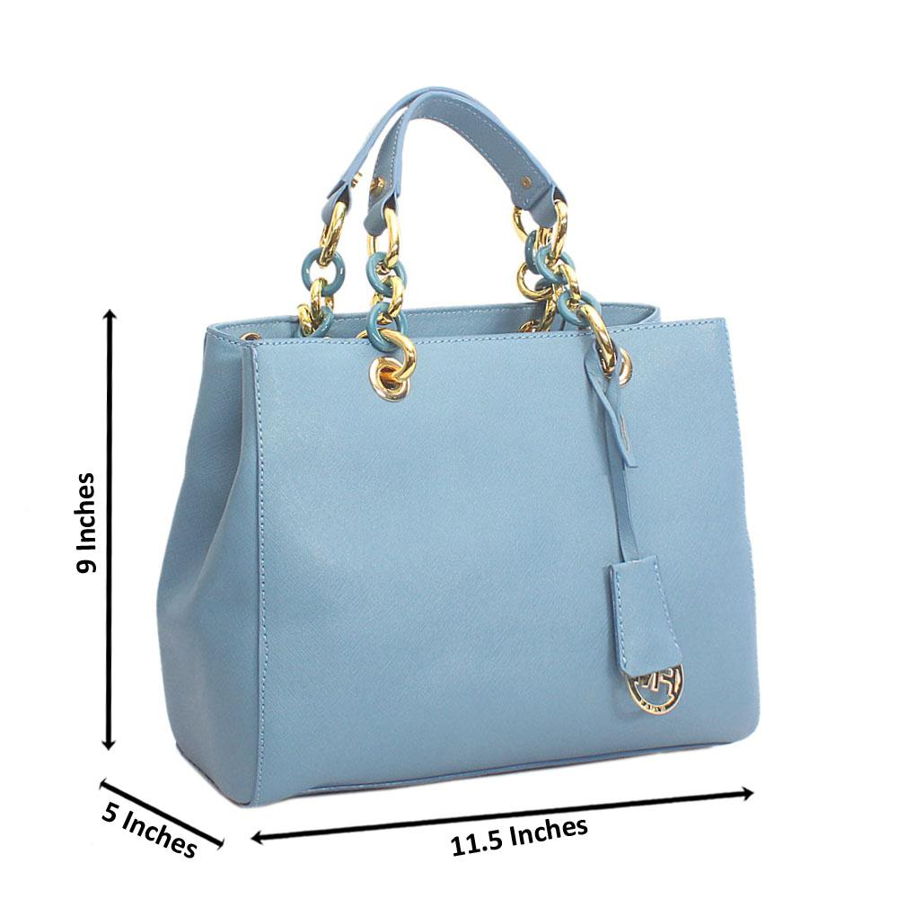 Stylish Sky Blue with sterling Gold  Fulton Tote Handbag