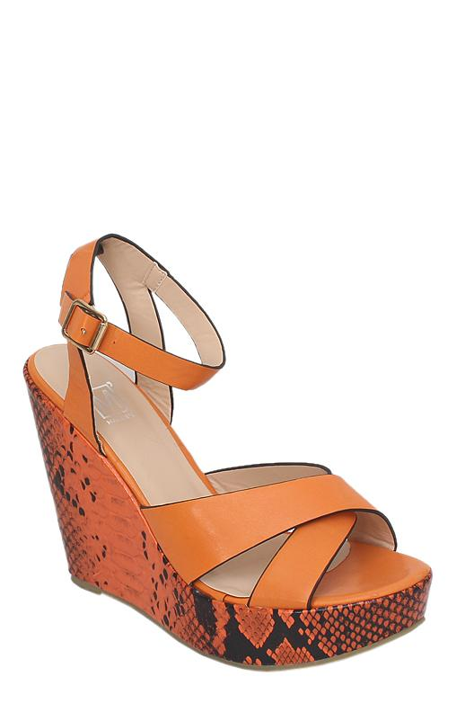 Maker's Orange Leather Animal Print Wedge Sandal