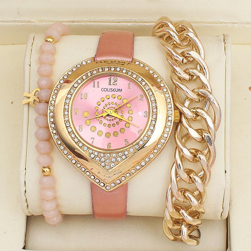 Coliseum Pink Leather Ladies Watch & Bracelet Gift Set