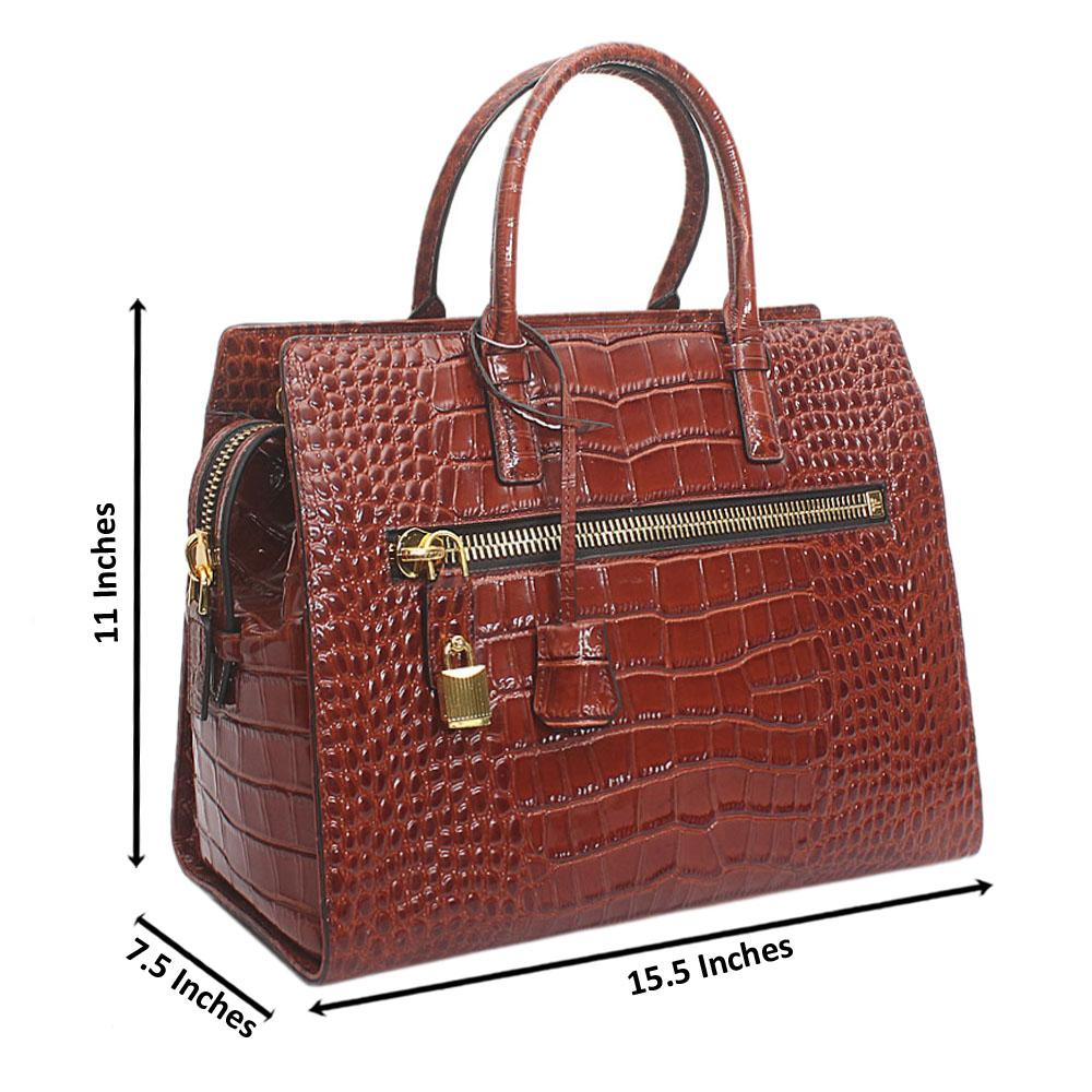 Brown Nastro Croc Saffiano Leather Handbag