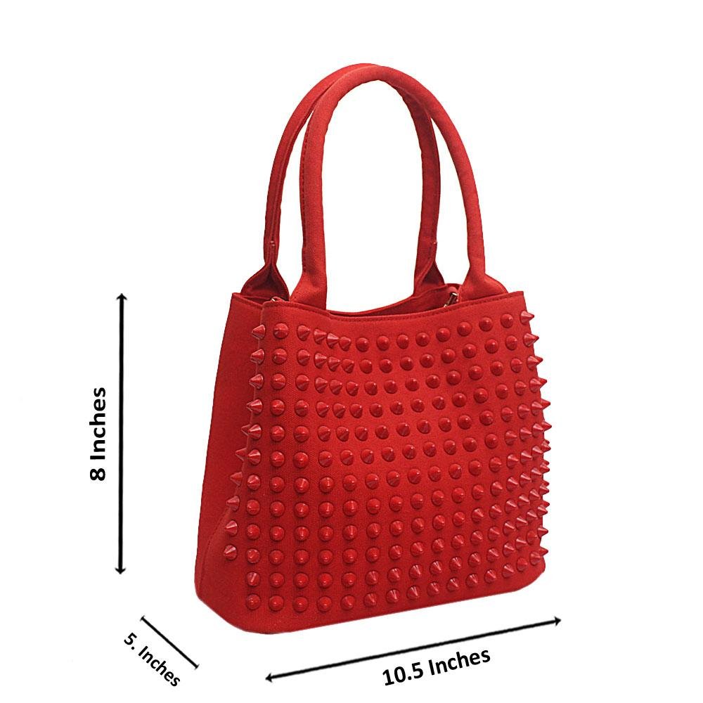Diavel Red Leather Studded Medium Tote Bag