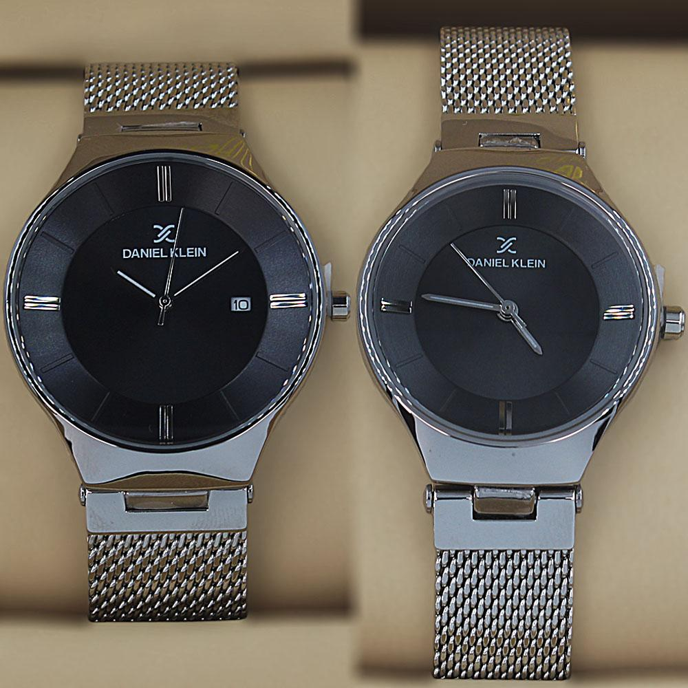 Daniel Klein Vintage Silver Mesh Couples Watch