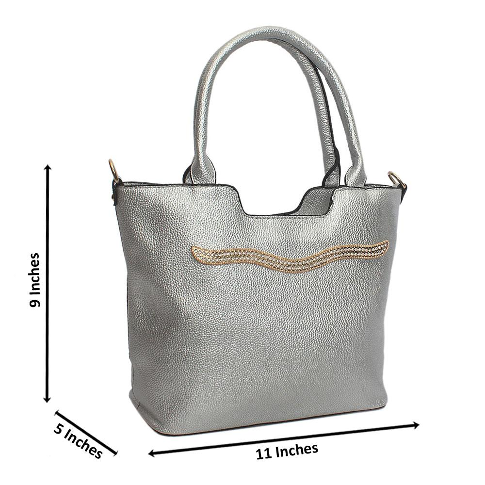 Silver Line Stud Leather Tote Handbag