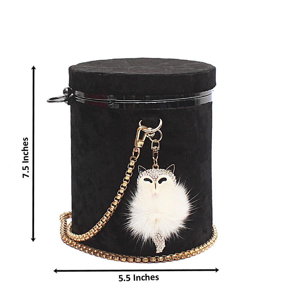 Black Suede Barrel Bag