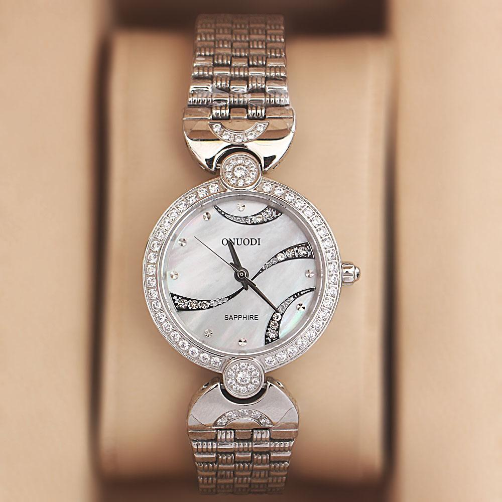 Onuodi Silver Sapphire Studded Ladies Shanghai Watch