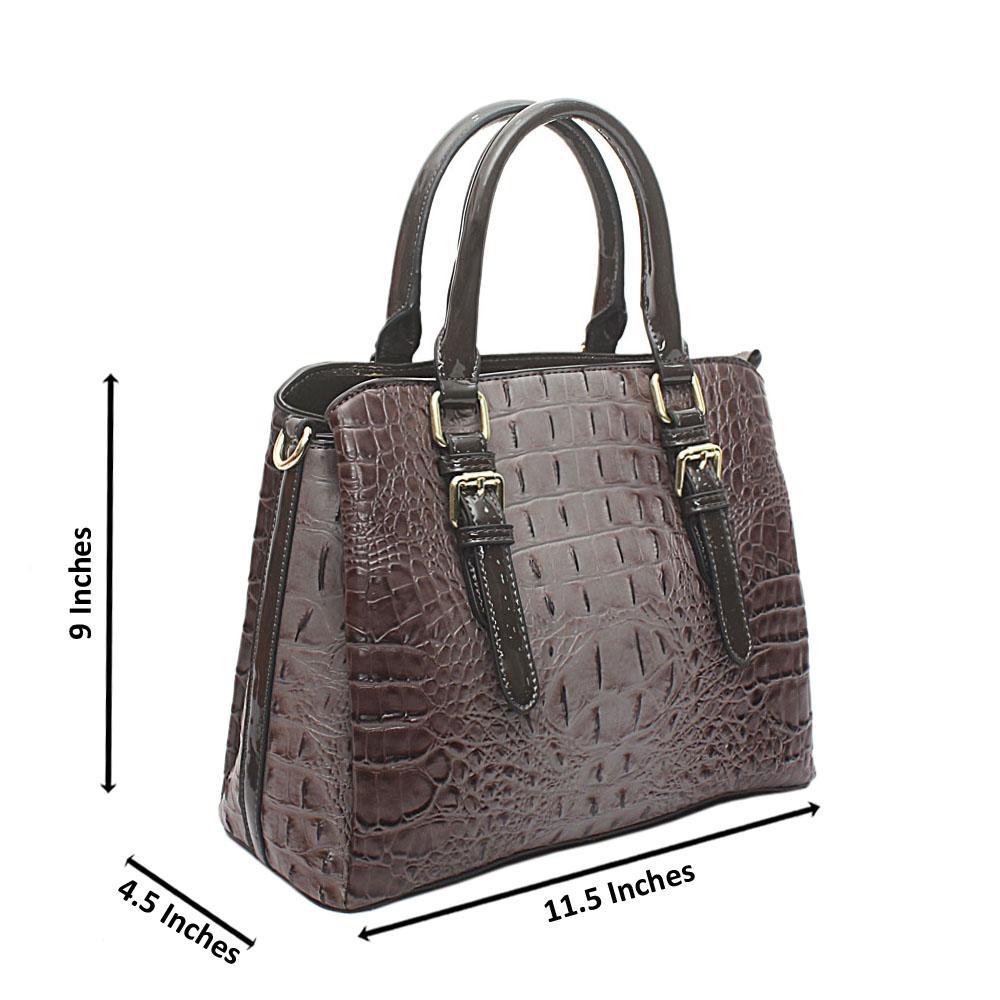 Ash Patent Animal Skin Leather Handbag