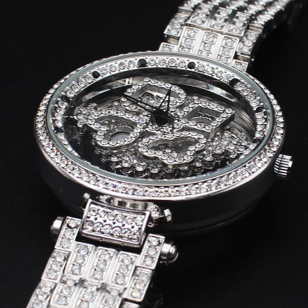 Davinchi Crystals Studded Steel Skeletal Big Spinner Watch