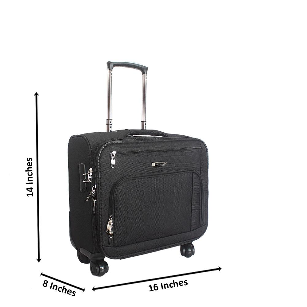 Black Fabric 4 Compartment 4 Wheels Spinners Pilot Suitcase