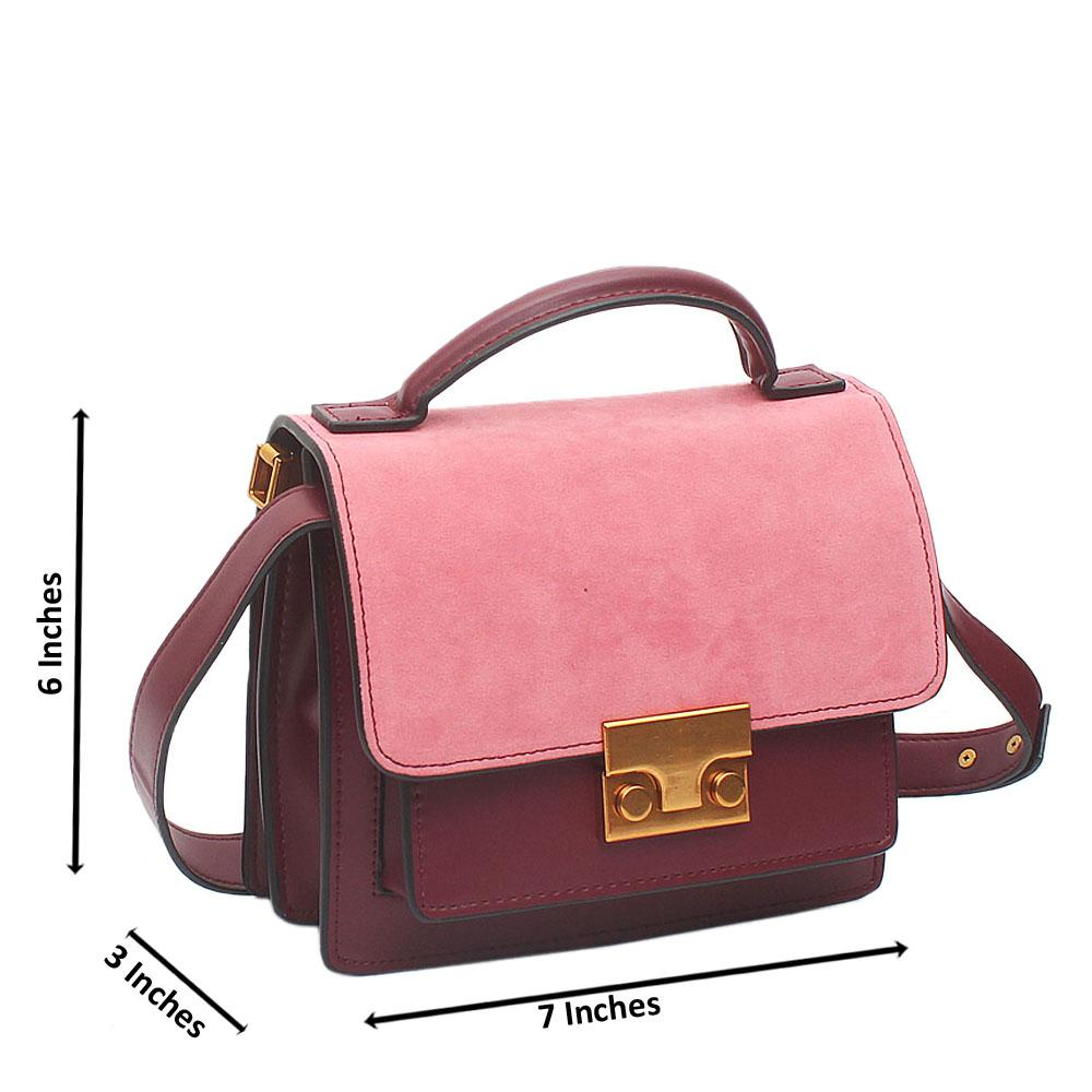 Wine Mini Sara Suede-Leather Bag