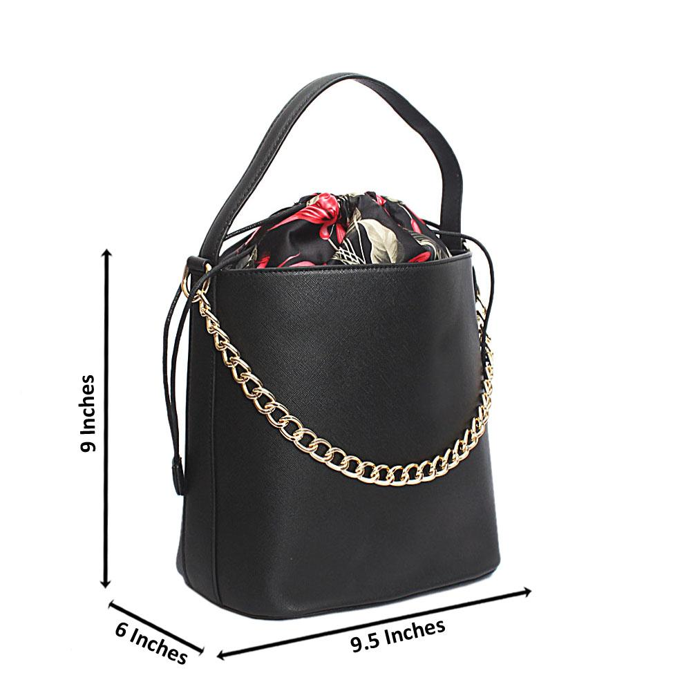 Black Floral Single Handle Leather Bucket Bag