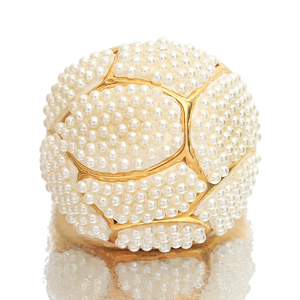 Gold Steel Pearl Classic Ladies Ring
