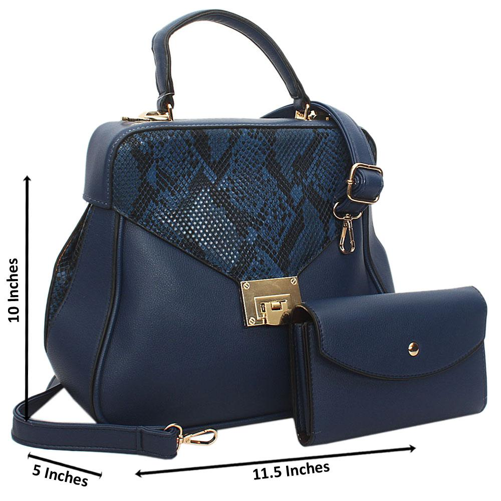 Blue Snake Styled Leather Small Top Handle Handbag