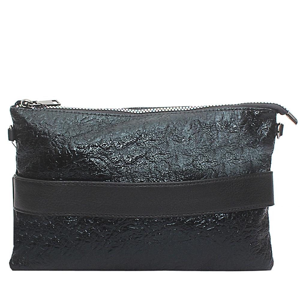 Metallic Black Leather Flat Purse