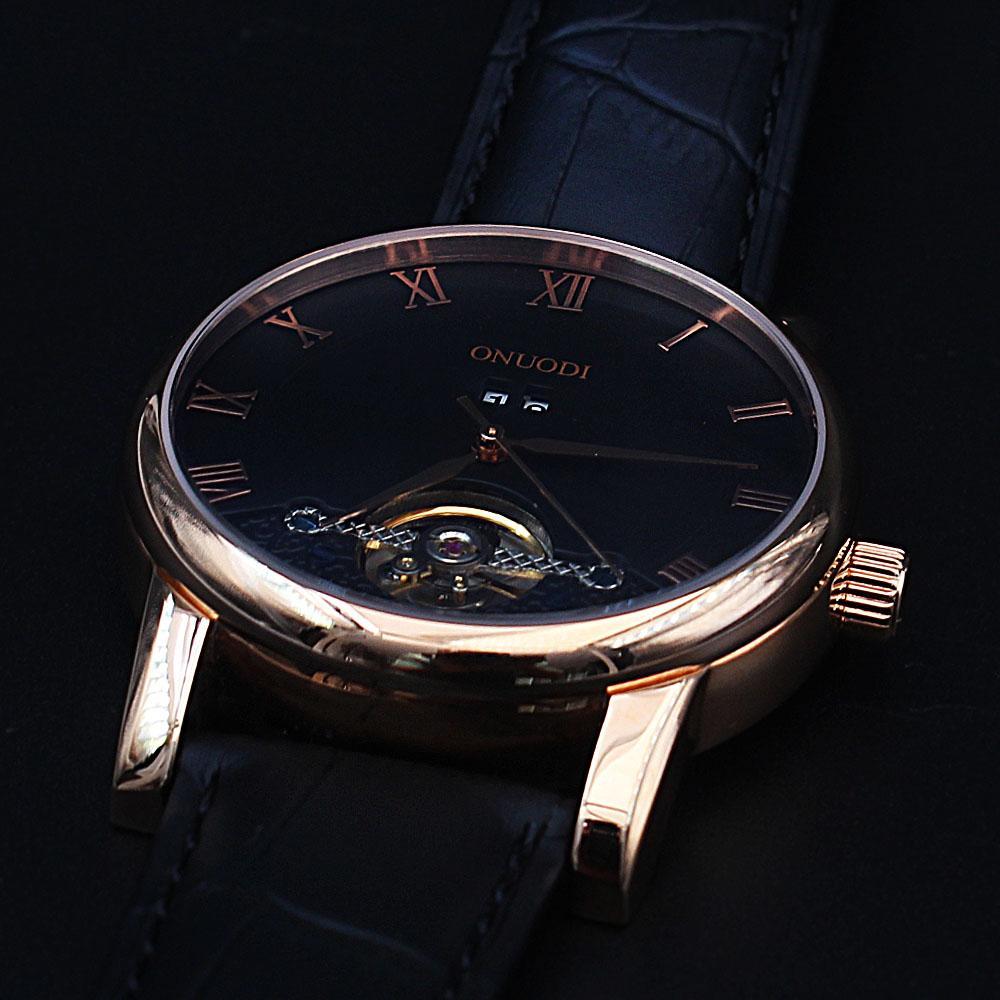 Shanghai Nudi Gold Black Leather Automatic Date Classic Watch
