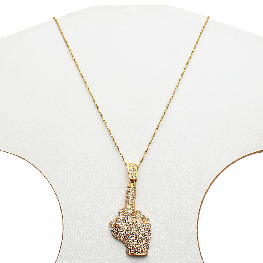 Studded Finger Thin Gold Necklace