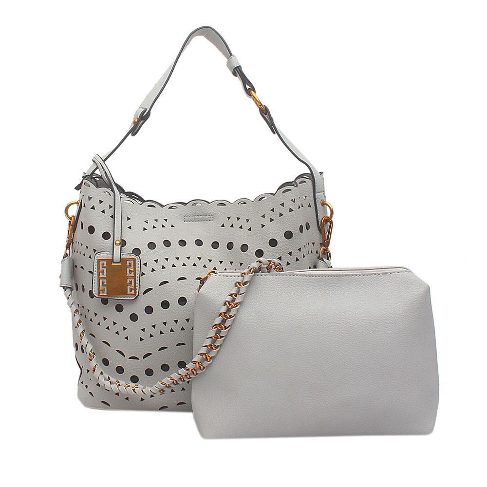 London Style Grey Leather Shoulder Bag Wt Purse