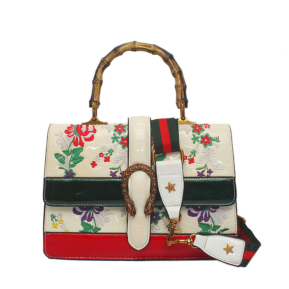Cream Green Red Patent Leather Dionysus Bag