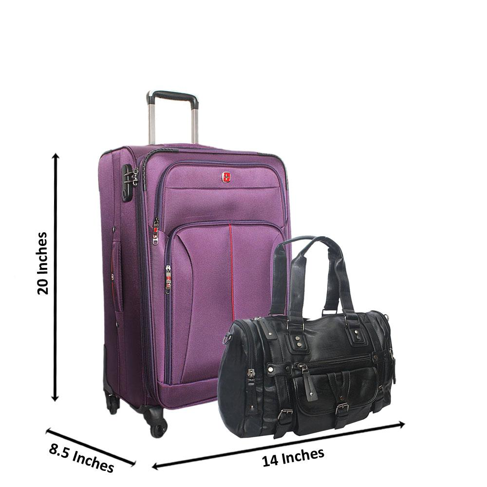 Saint Purple 20 Inch Fabric 4 Wheels Spinners Carry On Luggage wt FREE Bag